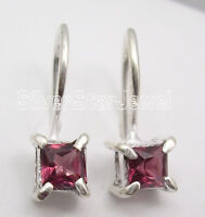 "925 Solid Silver GARNET Facetted Sparkling Earrings 0.6"" Women's Jewellery"