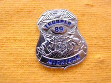 MICHIGAN STATE POLICE TROOPER PROUD SILVER EAGLE MINI SHIRT LAPEL BADGE SHIELD