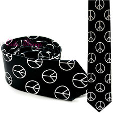"Black  White Peace Mark Fashion  Necktie 3"" Tie Novelty Hip Pop Necktie"