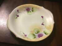 """Antique-Nippon-Plate-Purple Floral & Greenery Pattern-Hand Painted-6""""x6.5""""-"""