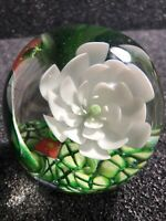 "3"" Vintage Glass Paper Weight Millefiori with Water Lily and a Frog Rare"