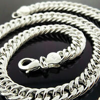 NECKLACE CHAIN GENUINE REAL 925 STERLING SILVER SF SOLID MEN'S HEAVY CURB DESIGN
