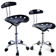2PC Adjustable Bar Stools ABS Tractor Seat Swivel Chrome Kitchen Breakfast Black