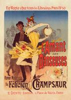 l'Amant des Danseuses by Jules Cheret 90cm x 64cm Art Paper Print