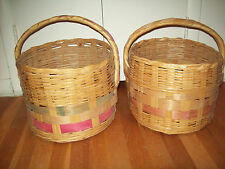 2 Vtg Large Round Storage Baskets Handle Woven Wicker Bamboo Rattan Straw ? Huge
