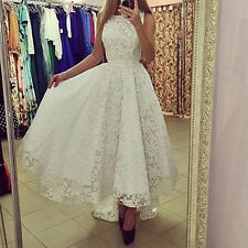Fashion Womens Long Maxi Formal Lace Prom Party Cocktail Gown Wedding Dress