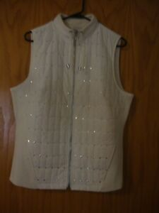 PRICE LOWERED:  Women's Chico's Cream Sequin Embellished Quilted Vest Size 2