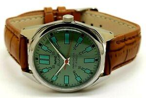 genuine hmt pilot hand winding men steel vintage green dial watch working order