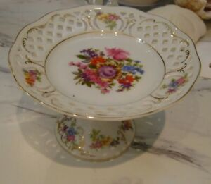 Flower Bouquet pierced porcelain vintage candy bowl gold trim Wako china Japan