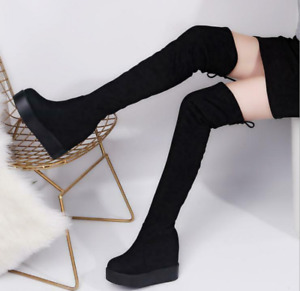 Womens Lace Up Over Knee High Riding Sexy Stretch Boots Hidden Heels Shoes Party