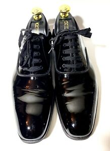 Tom Ford Black Patent Tuxedo Dinner Leather Shoes Size 43, UK-9, US-10