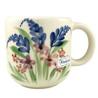 Emerson Creek Pottery Mug Coffee Cup Hand Painted Flowers Blue Pink Studio 2002