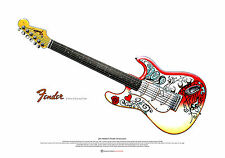 JIMI HENDRIX's Fender Stratocaster Art Poster Comme AT MONTEREY A2 taille