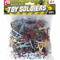 80 Plastic Soldiers Toys Traditional Army Kids Children Pretend Play War Games