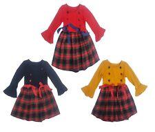 Girls Christmas Dresses New Kids Tartan Check Long Sleeved Buttons X-mas Dress