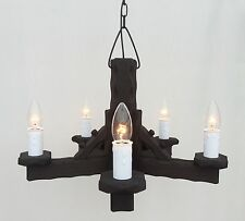 TW/5 - Traditional Rustic Wooden 5-Light Pendant / Wood Ceiling Light