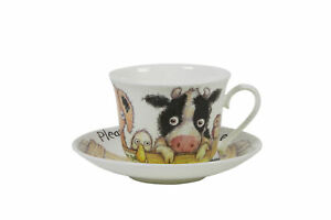 Roy Kirkham Please Shut The Gate Large Breakfast Cup & Saucer Pig Cow Sheep Duck