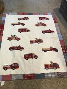 Pottery Barn Kids Twin Firetruck with Puppy Quilt Bedding