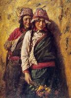 CHENPAT799 hand paint two lovely tibet girls portrait oil painting art on canvas