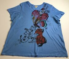 One World Womens Short Sleeve Blouse Top 2X Plus Blue Pink Butterfly Roses Scoop