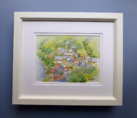 """Original Framed Watercolour """"The Village of Saint Aventin"""" French Pyrenees"""