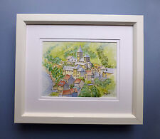 "Original Framed Watercolour ""The Village of Saint Aventin"" French Pyrenees"