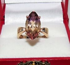 14K YELLOW GOLD MARQUISE CUT AMETRINE SOLITAIRE RING