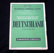HAMBURG AMERICAN LINE SS DEUTSCHLAND Deck Plan 1937