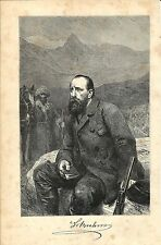 Stampa antica ALFRED EDMUND BREHM RITRATTO biologo 1891 Old antique print