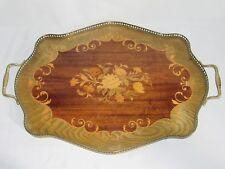 07E34 ANCIEN GRAND PLATEAU DE SERVICE DE TABLE EN MARQUETERIE DÉCORS DE FLEURS