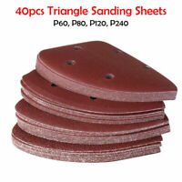40PCS Sanding Sheets,Mouse Sander Pads 140mm Punched Triangle,60,80,120,240 Grit