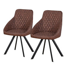 Pair of Diamond Brown PU Dining Chairs Faux Leather Kitchen Dining Room Chair