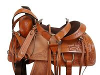 USED WESTERN SADDLE 15 16 17 ROPING HORSE PLEASURE FLORAL TOOLED LEATHER TACK