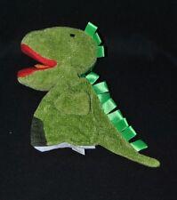Peluche doudou marionnette dragon dinosaure NINO & IDEAS vert bouche rouge TTBE