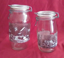 Vintage Currier & Ives Lithograph Mason Jars in Excellent Condition
