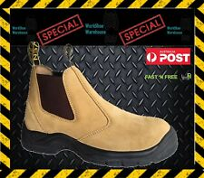 NEW STOCK!! Lightweight Steel Toe Cap Wheat Suede Safety Slip On Work Boot