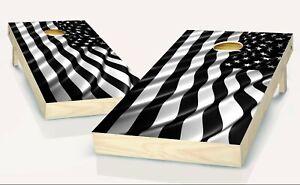 Cornhole American Flag Black and White  Board Vinyl Wrap Laminated Sticker Set