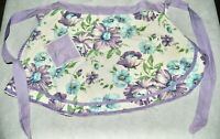 Vintage Terry Cloth Half Kitchen Cooking Apron Lavender Purple Blue Floral