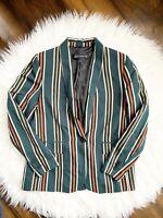 Zara Stripe Bottle Green Blazer Jacket SZ Medium