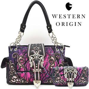 Camouflage Buckle Concealed Carry Purse Women Western Handbag Wallet Purple