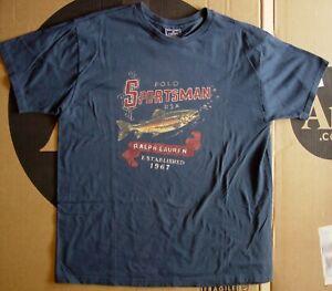 Vintage 1990s Polo Sport Sportsman Ralph Lauren Trout Fish T-Shirt Navy Blue L
