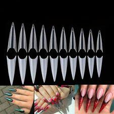 500Pcs Extra Long Stiletto False Fake Acrylic Nail Tips Full Cover Nail DIY