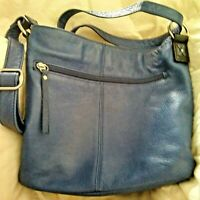 OSGOODE MARLEY Feel The Difference Leather Crossbody Adjustable Navy/ Black  EUC