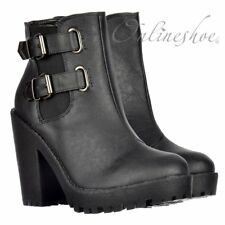 WOMENS LADIES RIHANNA CHELSEA RIDING BOOT SHOE HEELED BUCKLES BLACK SIZE