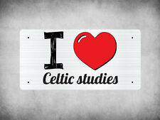WP_ILV_478 I Love (Heart) Celtic studies (grey metallic design) - Metal Wall Pla