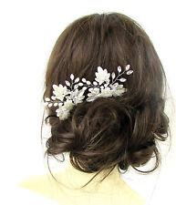2 x White Silver Flower Leaf Pearl Hair Pins Vine Bridal Diamante Headpiece 487