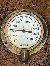 Vintage Marshall Town Iowa Usa Mfg Company Gauge 0 1000 Psi Steampunk