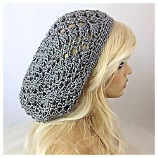 NEW Handmade Crochet SLOUCHY Beanie Hat Rasta Tam SOFT & EXTRA BAGGIE Solid GRAY