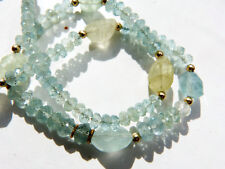 Vintage natural untreated faceted aquamarine necklace, Beadart-Austria Design