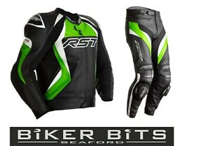 RST TRACTECH EVO 4 Kawasaki Green Motorcycle CE Leather Jacket/Trousers 2PC